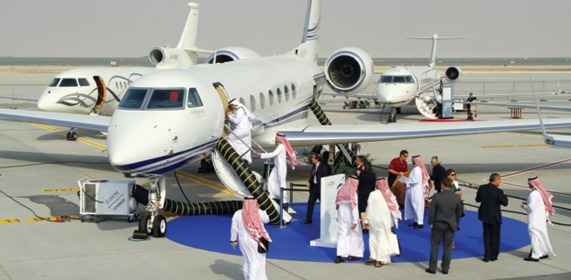 This year's Middle East Business Aviation show drew 20 percent more exhibitors than the 2010 event, with 385 companies from 84 countries attending. There were 34 aircraft on the static display line at the new Dubai World Central site, which has set its sights on being a business aviation hub by the time the show returns in 2014.