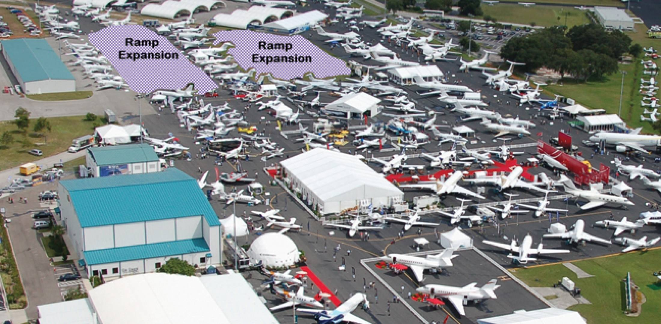 The main static display at Orlando's Showalter Flying Service will benefit  from an additional 2.25 acres for aircraft.