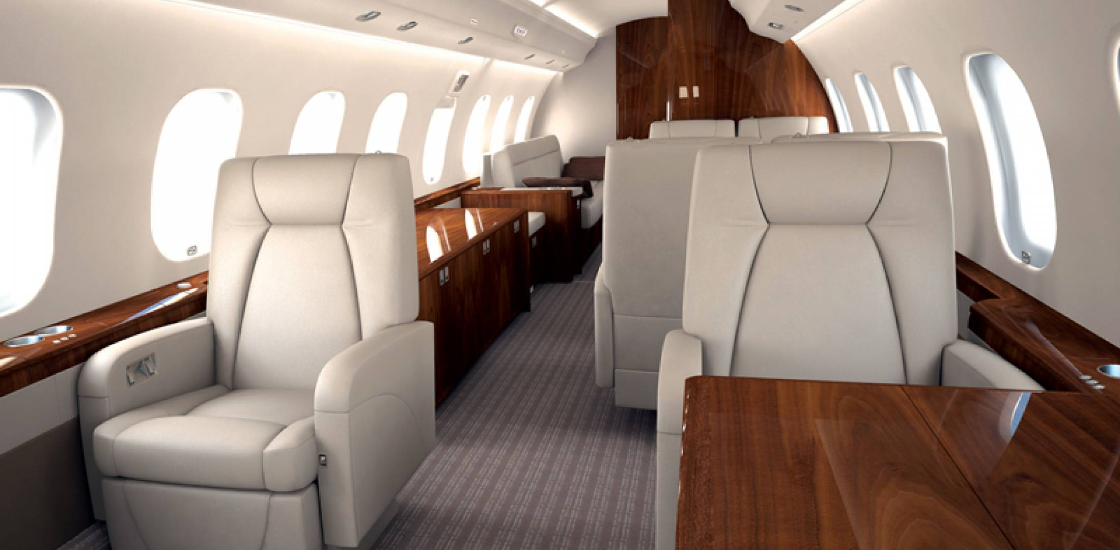 NetJets Europe Global 6000 interior.