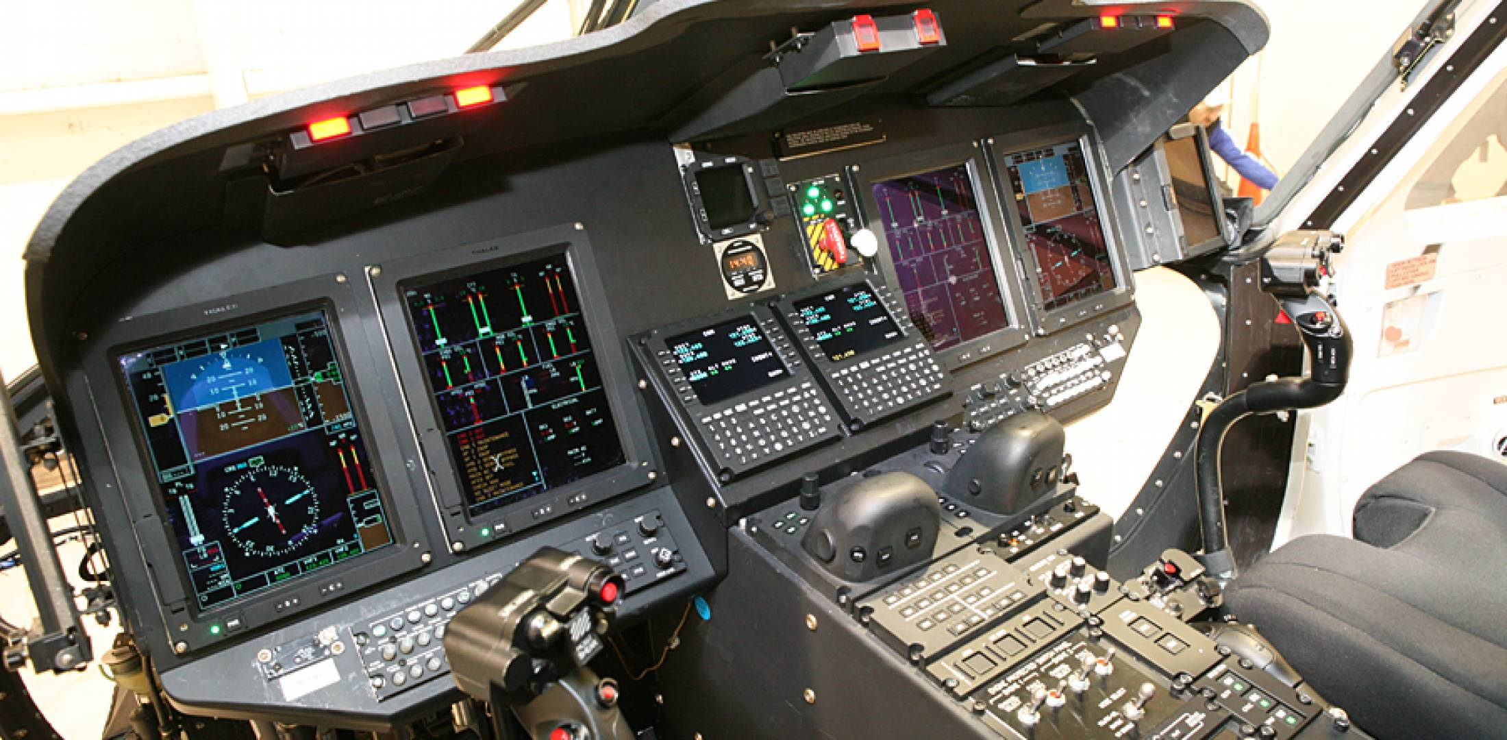 The Top Deck cockpit in Sikorsky's S-76D is based on four 6- by 8-inch displays