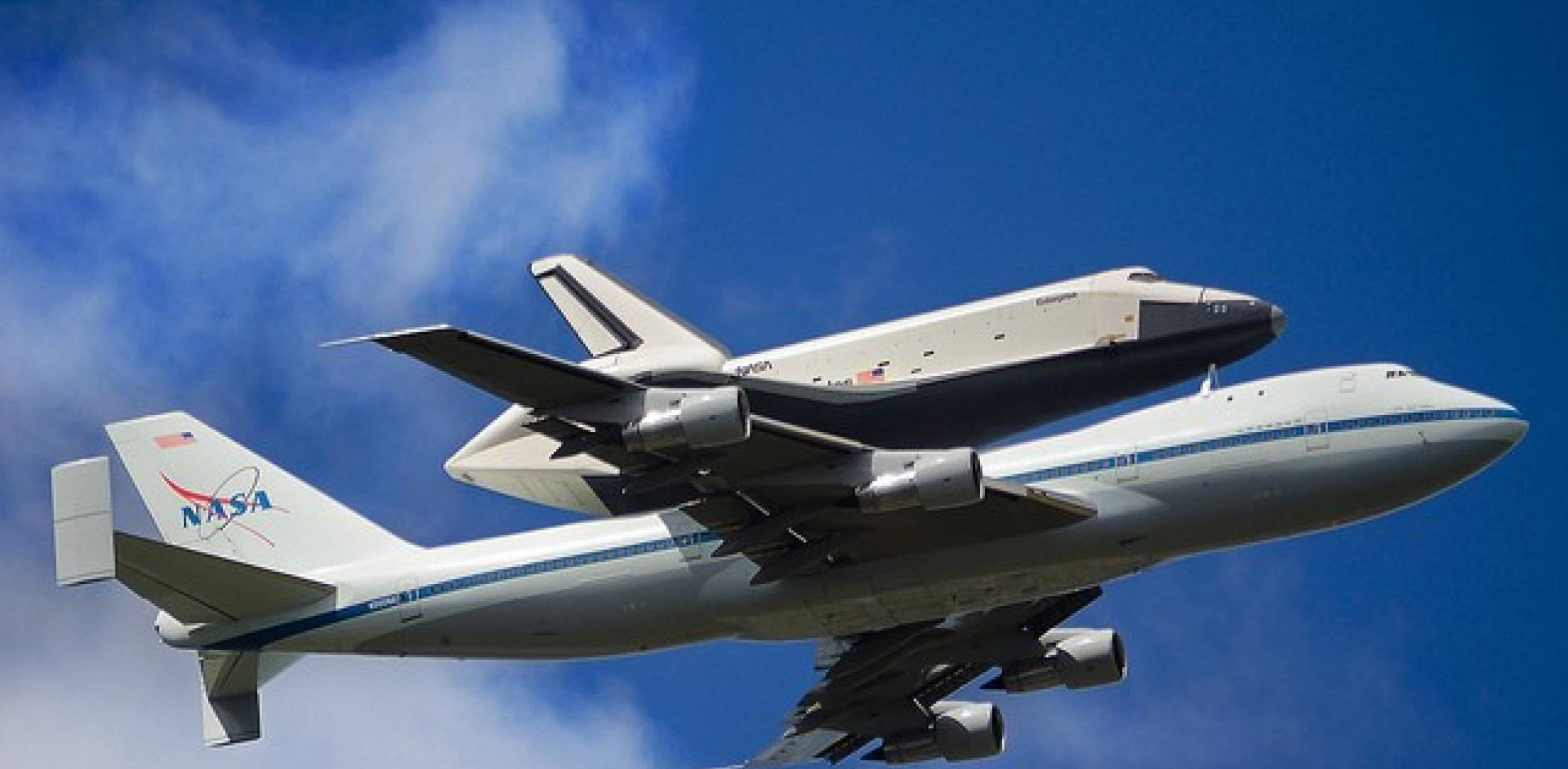 Enterprise on back of NASA shuttle carrier 747