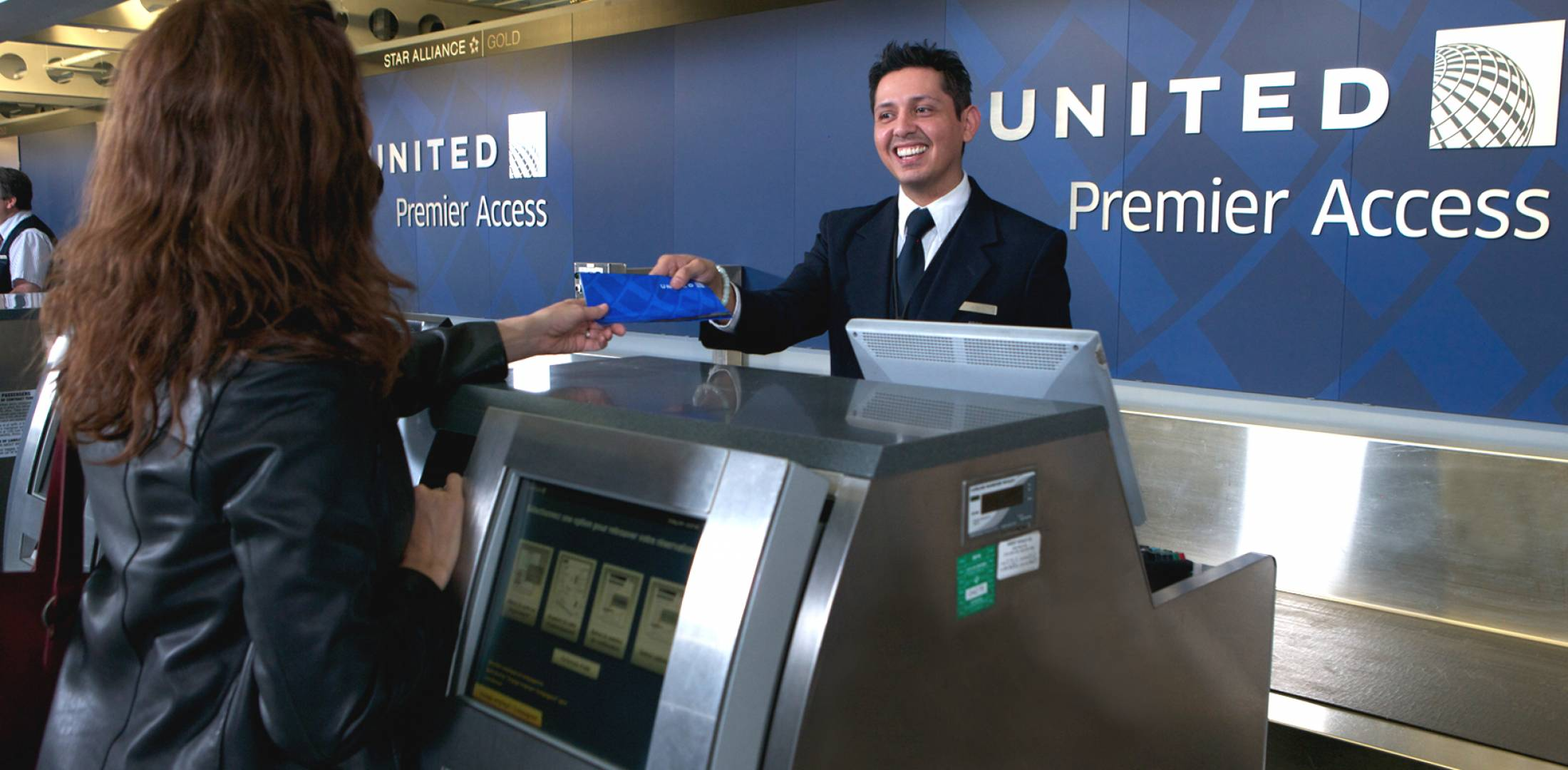 United check-in counter at Chicago O'Hare Airport
