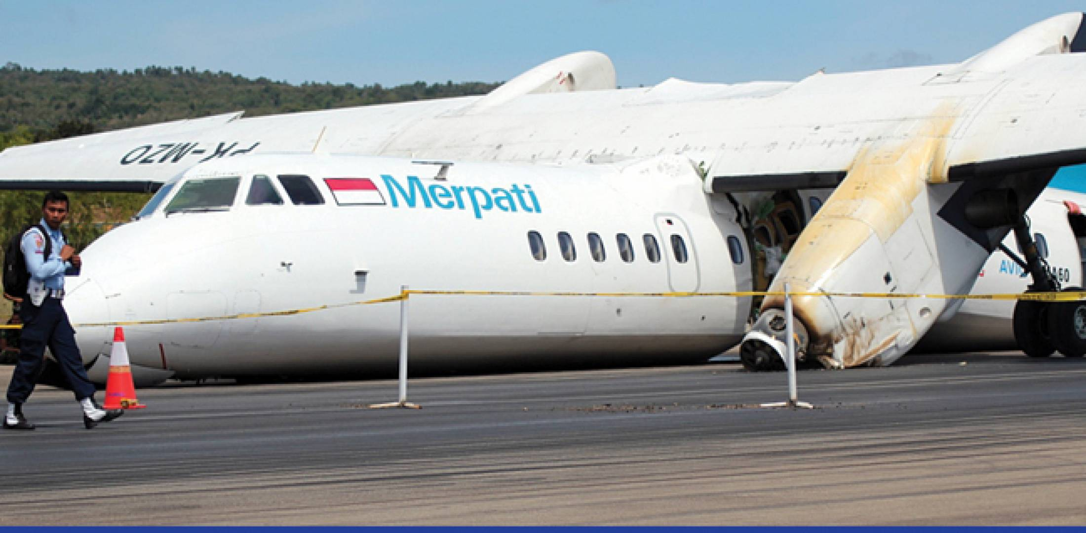 A Merpati Airlines MA-60 lay effectively destroyed following a crash while landing at El Tari Airport in Kupang, Indonesia.