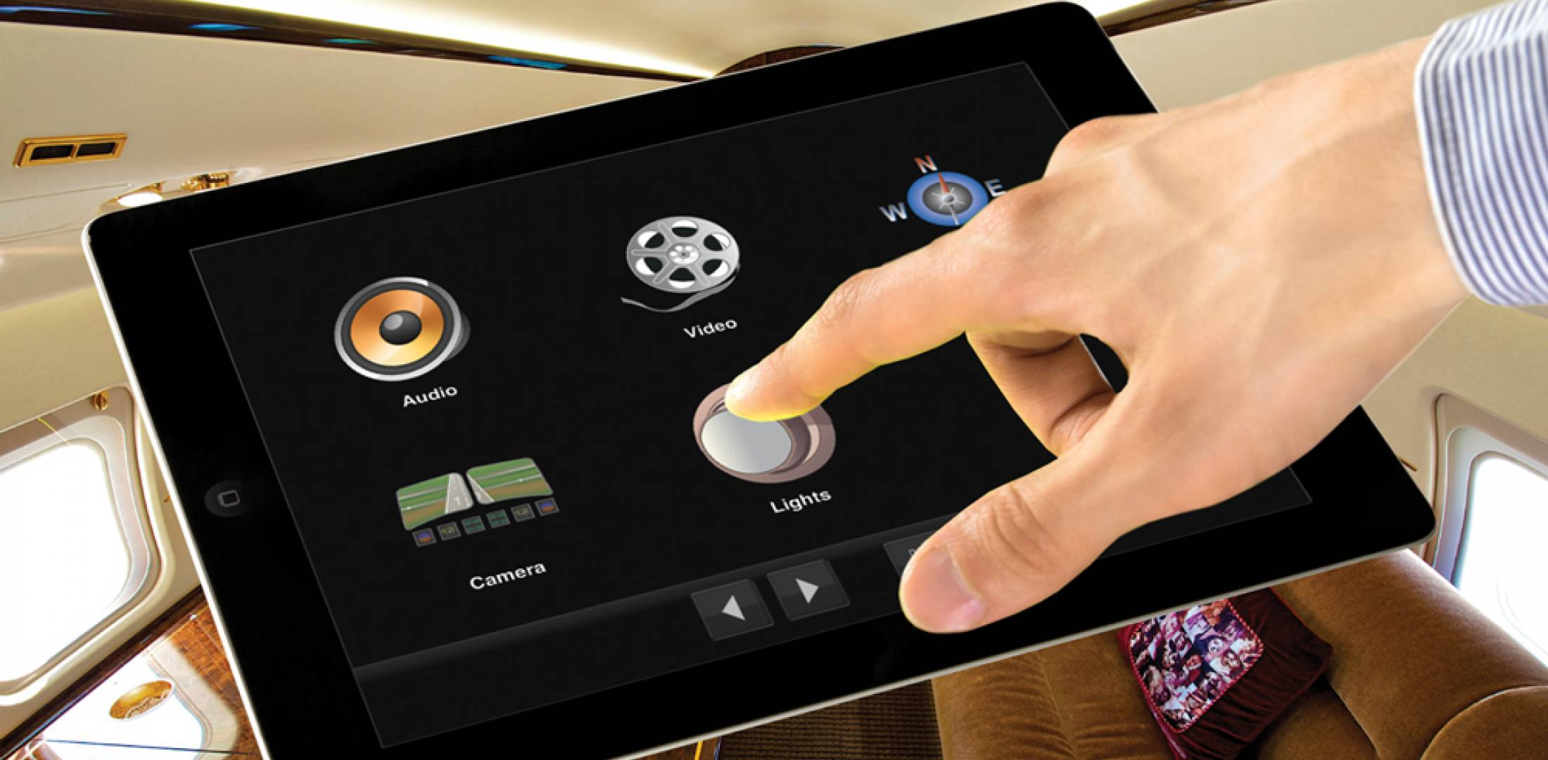 Flight Display's iPad app puts the cabin management system at a passenger's fingertips, displaying moving maps, streaming video and even an external view of a takeoff.