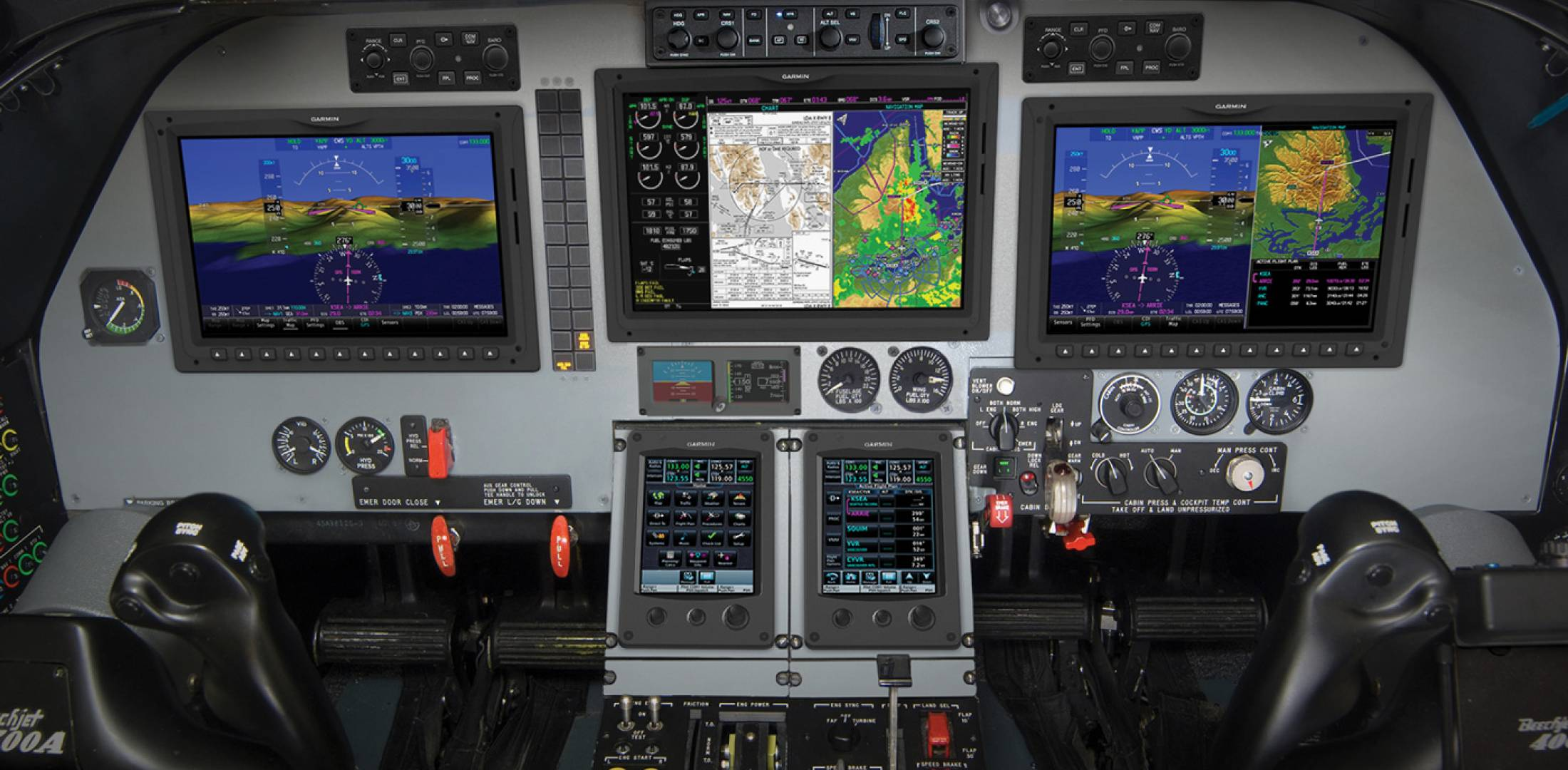 Garmin's G5000 avionics system is slated for retrofit in the Beechjet 400A/Hawker 400XP.