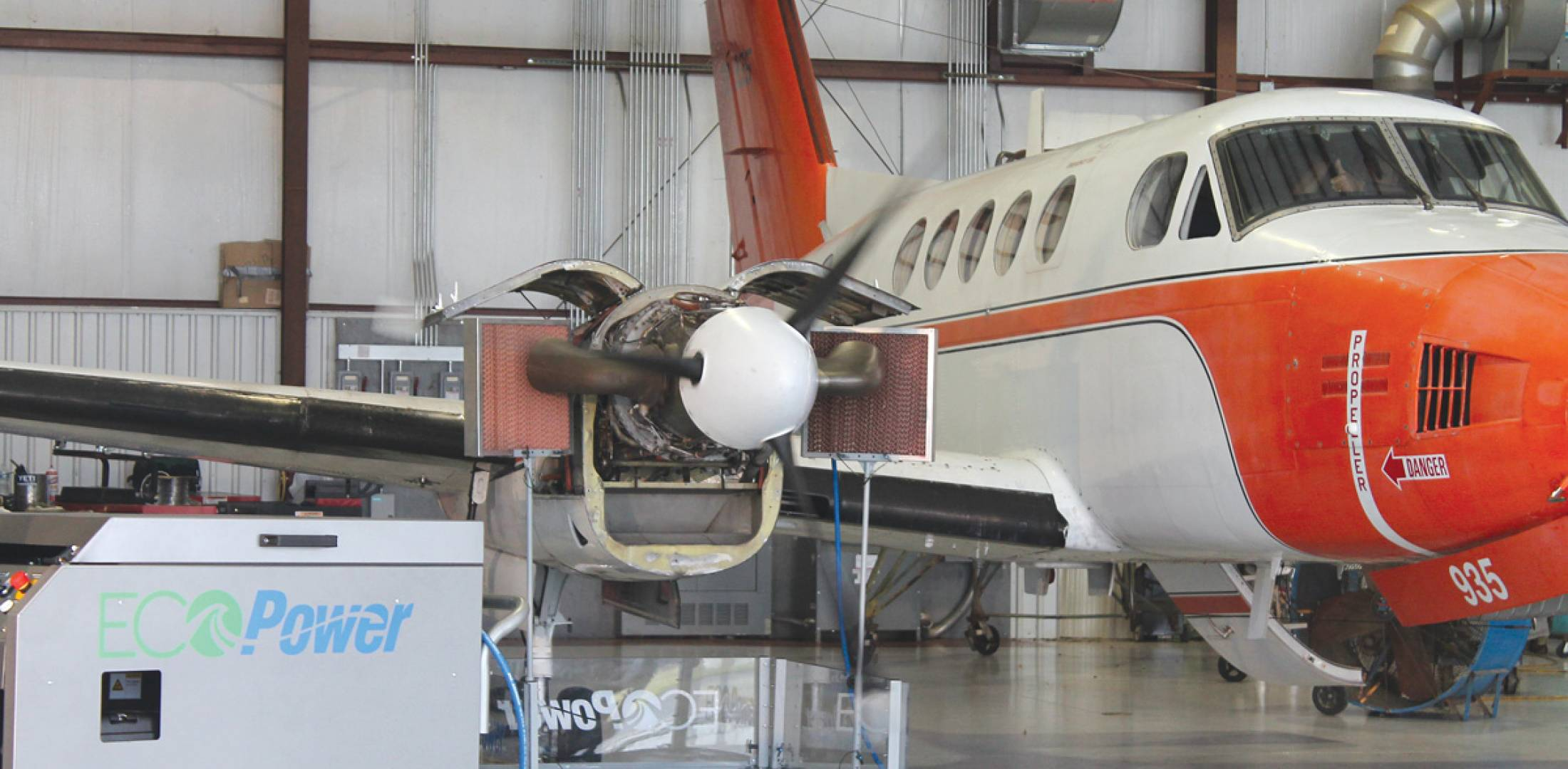 "Vector-Hawk has teamed with EcoServices to offer a version of the Pratt & Whitney-designed EcoPower Wash system for P&WC PT6 engines, shown here in the process of ""cleansing"" a PT6 on a Beechcraft King Air."