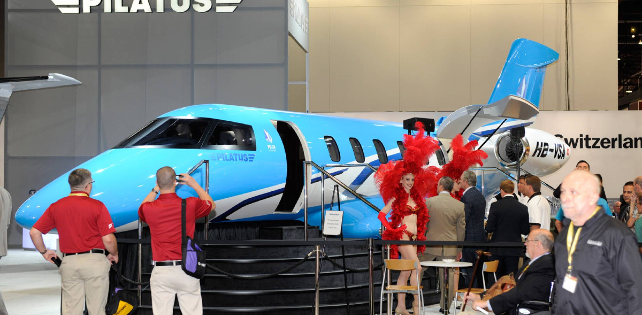 Pilatus Business Aircraft is displaying a mock-up of its twinjet PC-24, which combines light-jet operating economics with super-midsize jet capabilities.