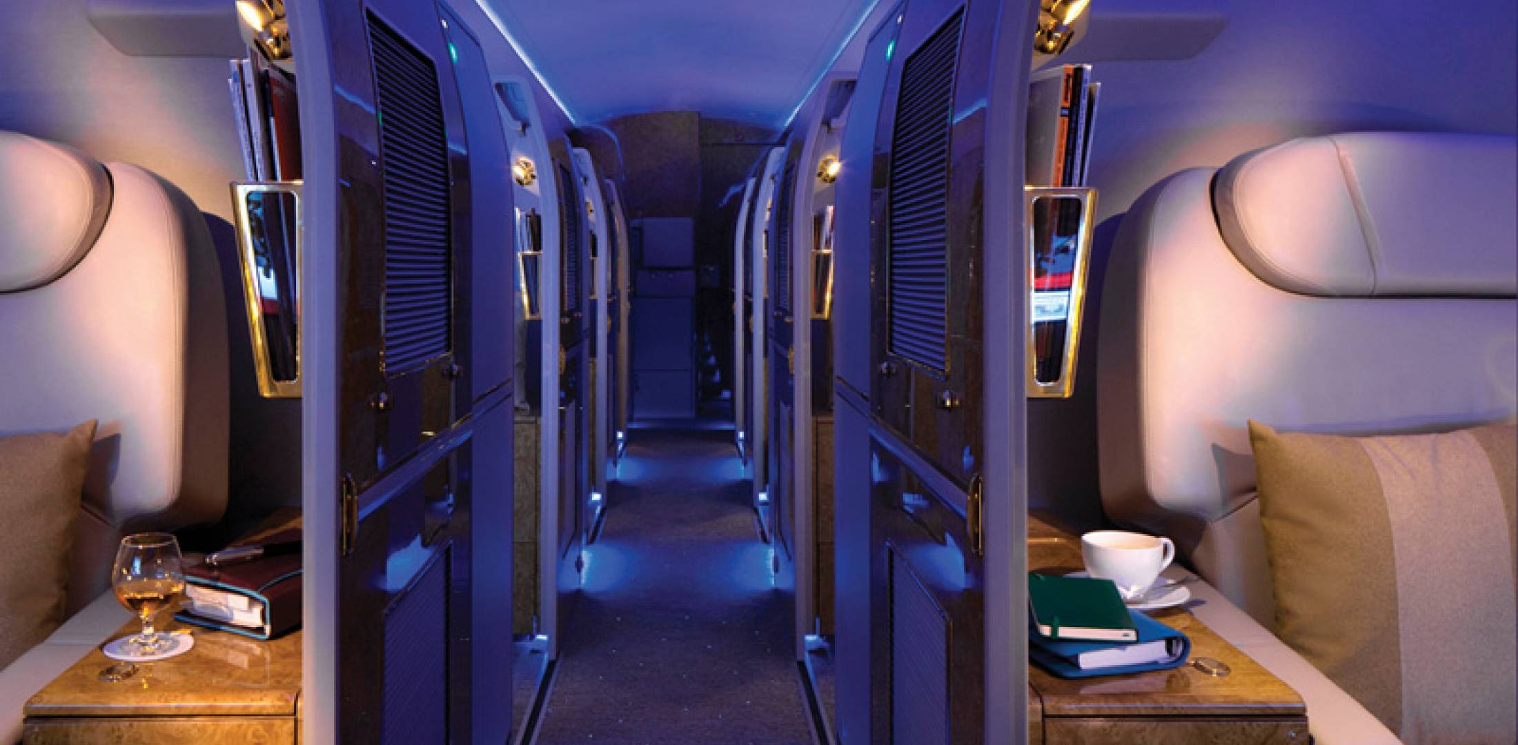 "The latest ACJ319 cabin by ACJC features a forward dining and executive lounge, as well as 10 private ""mini-suites."""
