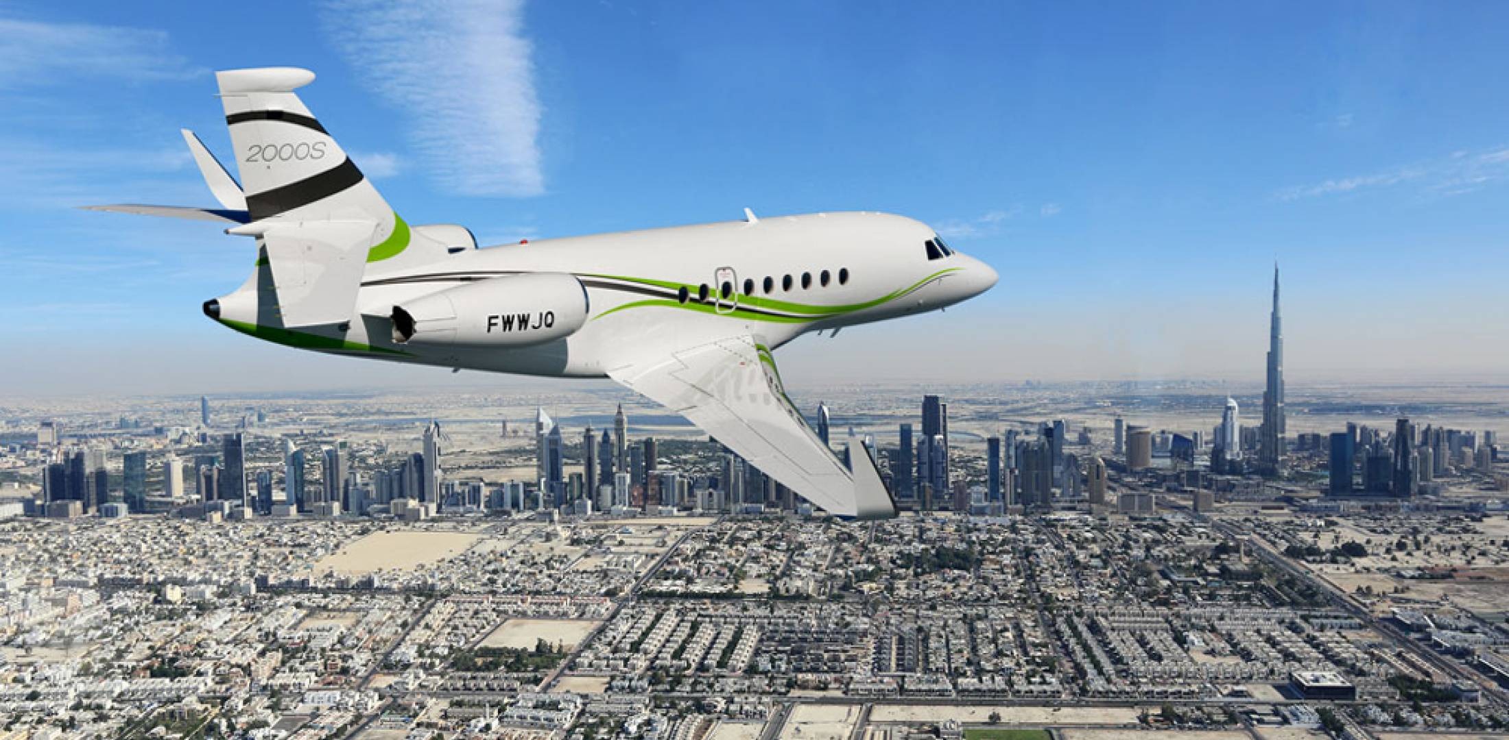 Falcon 2000S flying over Dubai.