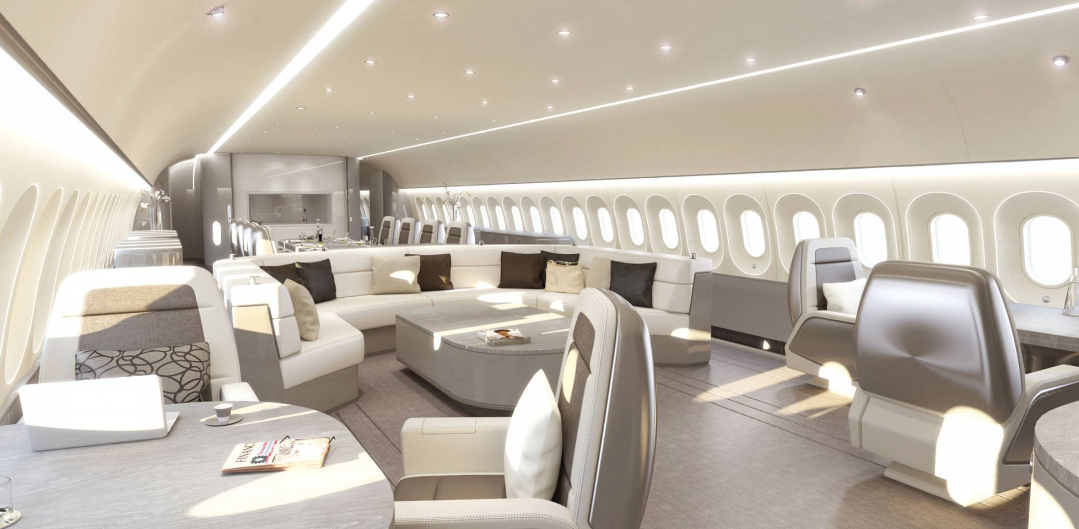 Small luxury cabin interior - Jet Aviation Basel S Visionary Cabin Interior For Vip Widebody Aircraft May Provide A Glimpse Into The Future Particularly As Manufacturers Increasingly