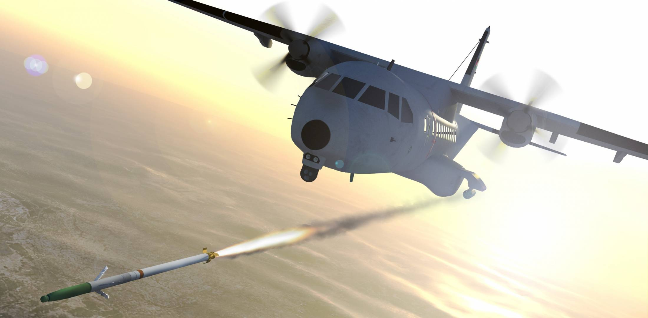 CASA-235 light gunship fires APKWS