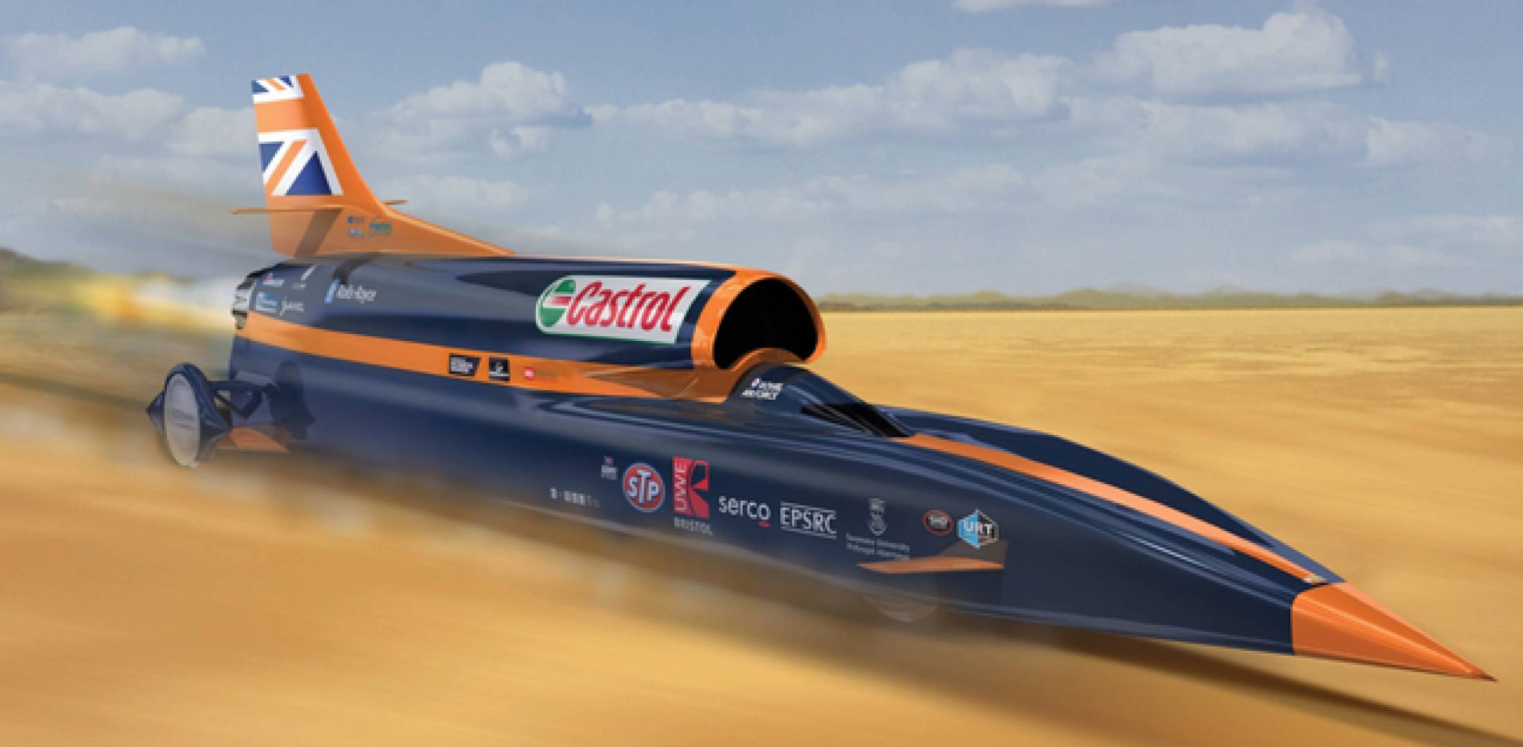 Artist's impression of Bloodhound SSC during a record run. The actual record attempts are planned to take place in South Africa in 2016.  The car is appearing at Farnborough before heading for South Africa.