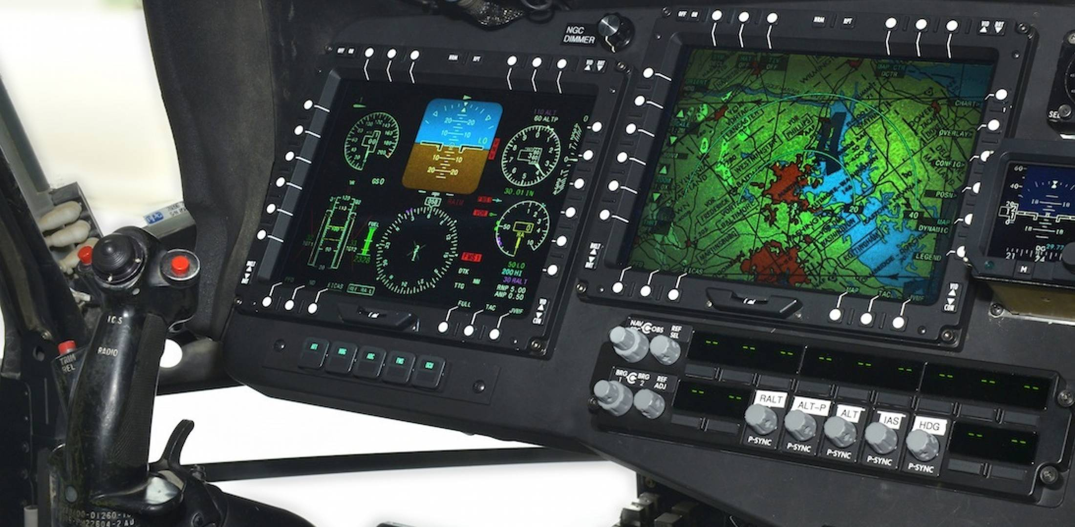 UH-60V cockpit displays