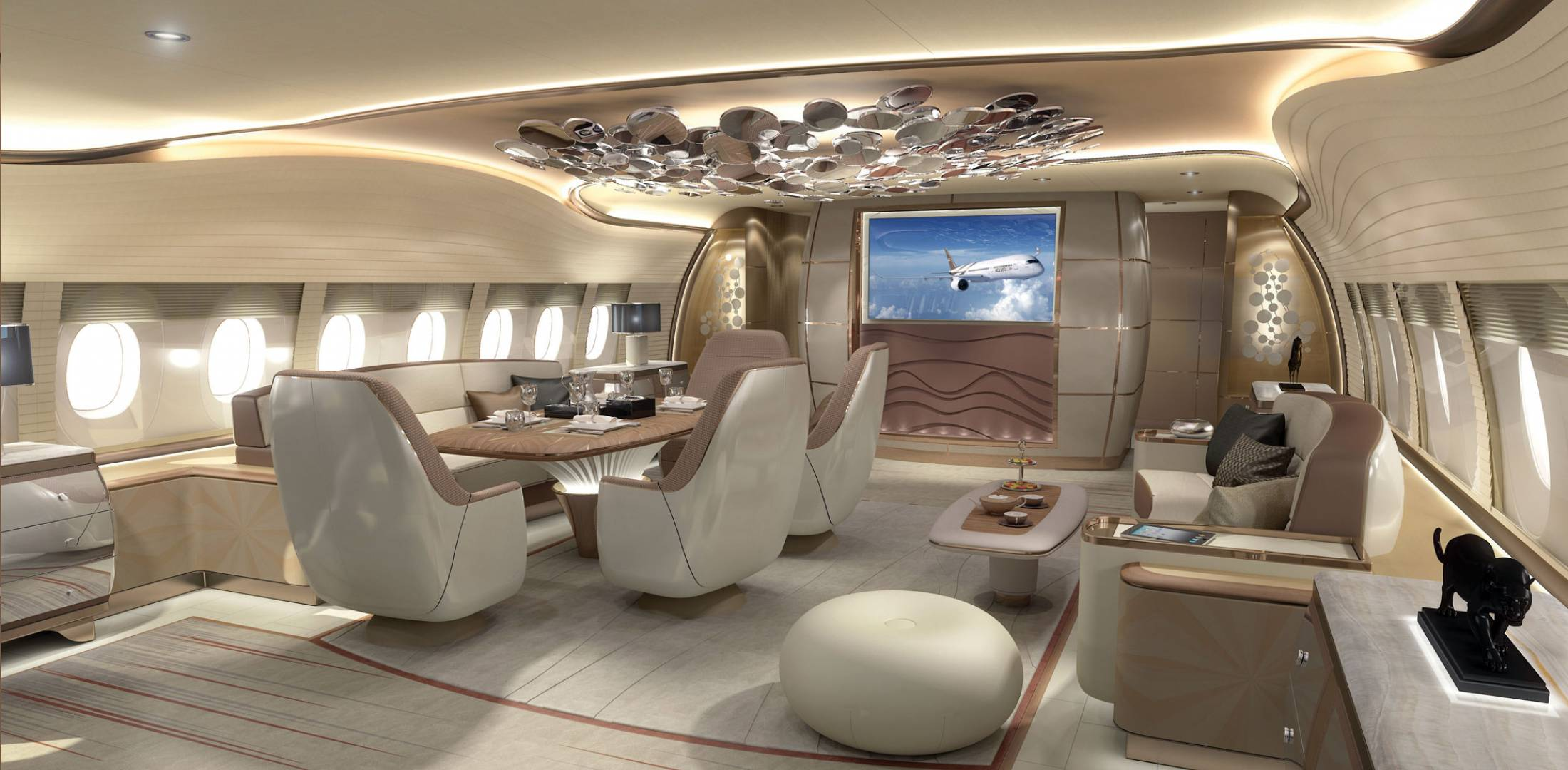 Jet aviation renders a350 interior business aviation for Large cabin business jets