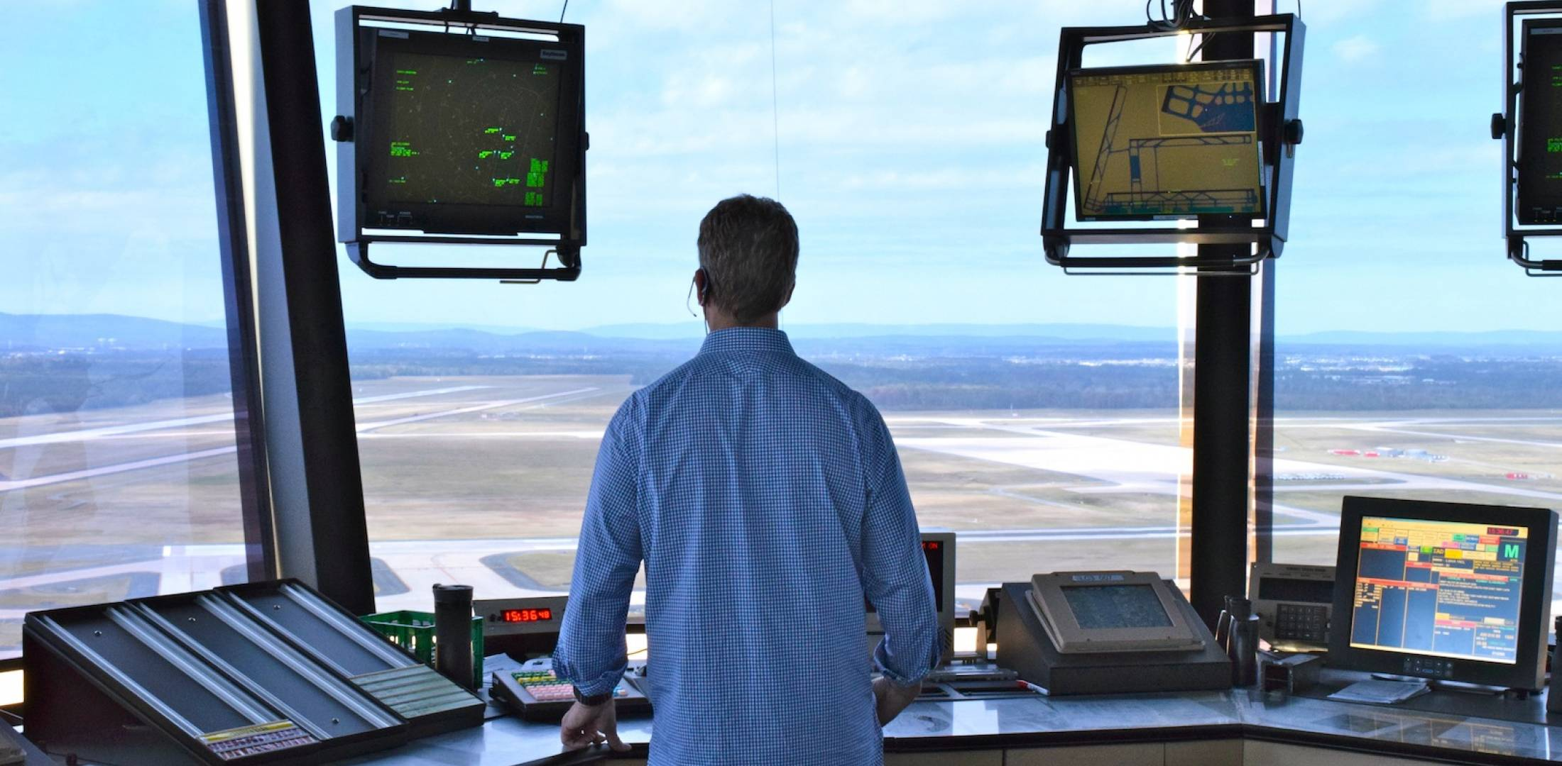 Air traffic controller at Dulles International Airport