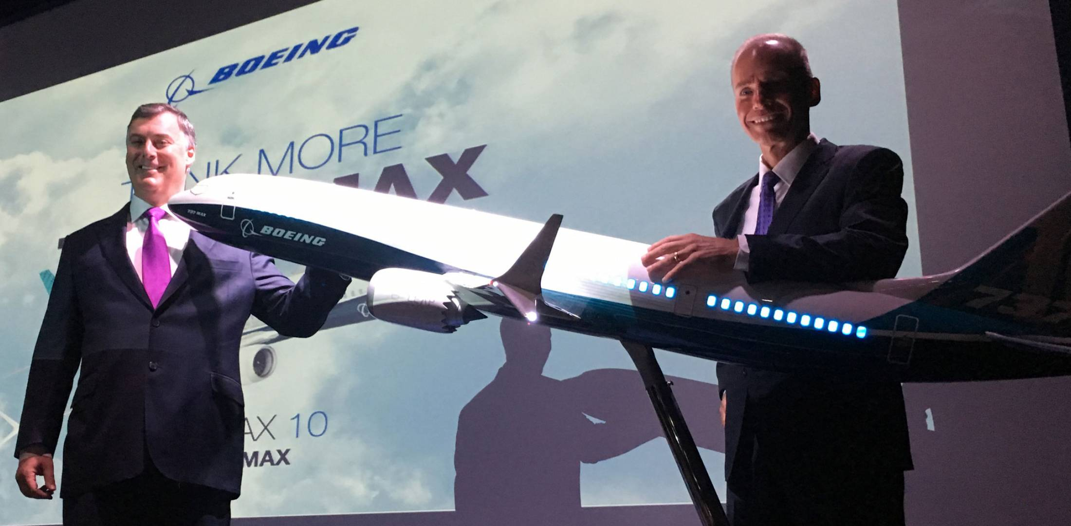 Boeing Commercial Airplanes CEO Kevin McAllister, left, and Boeing chairman and CEO Dennis Muilenburg officially launched the 737 Max 10.
