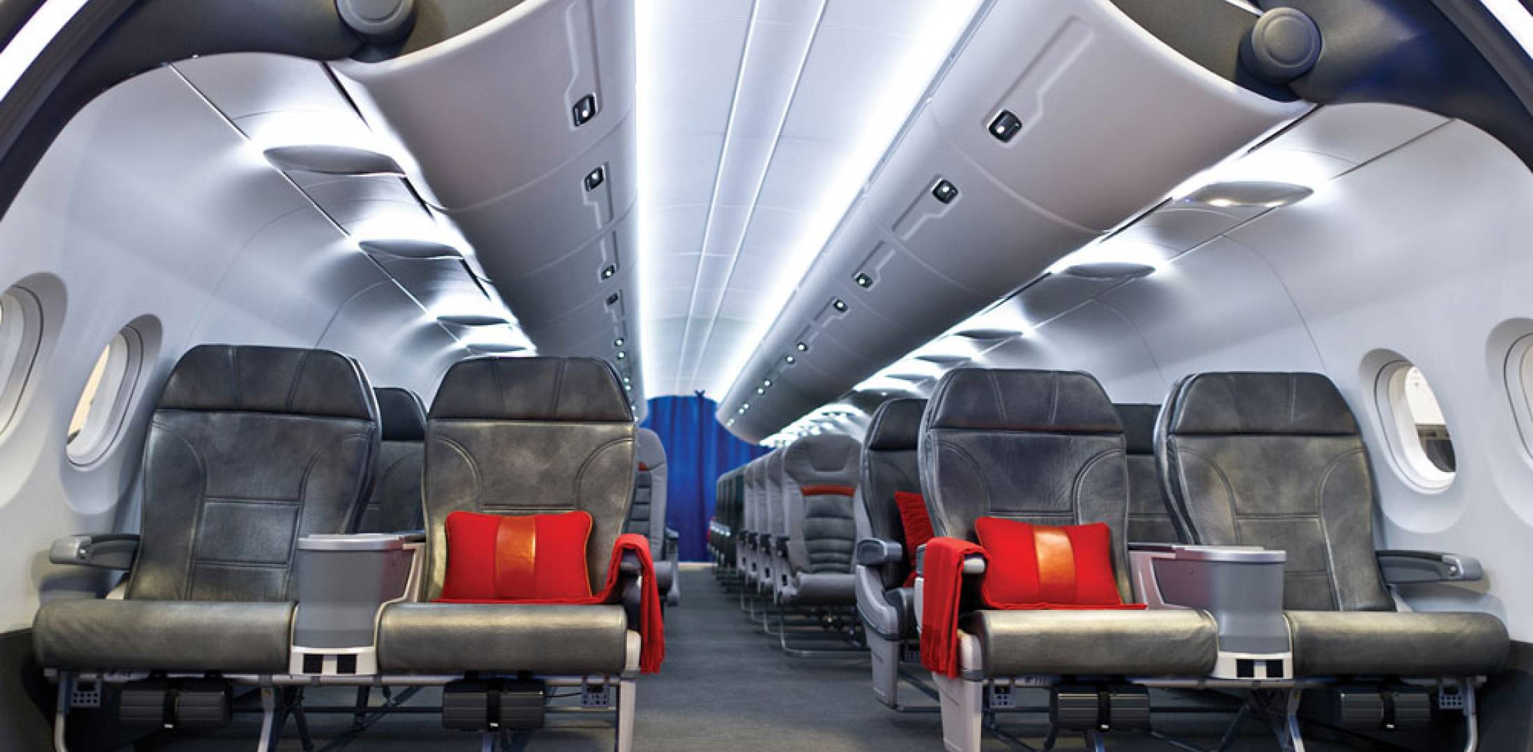 Zodiac Aerospace's Isis cabin features new seats and 60-percent larger baggage bins.