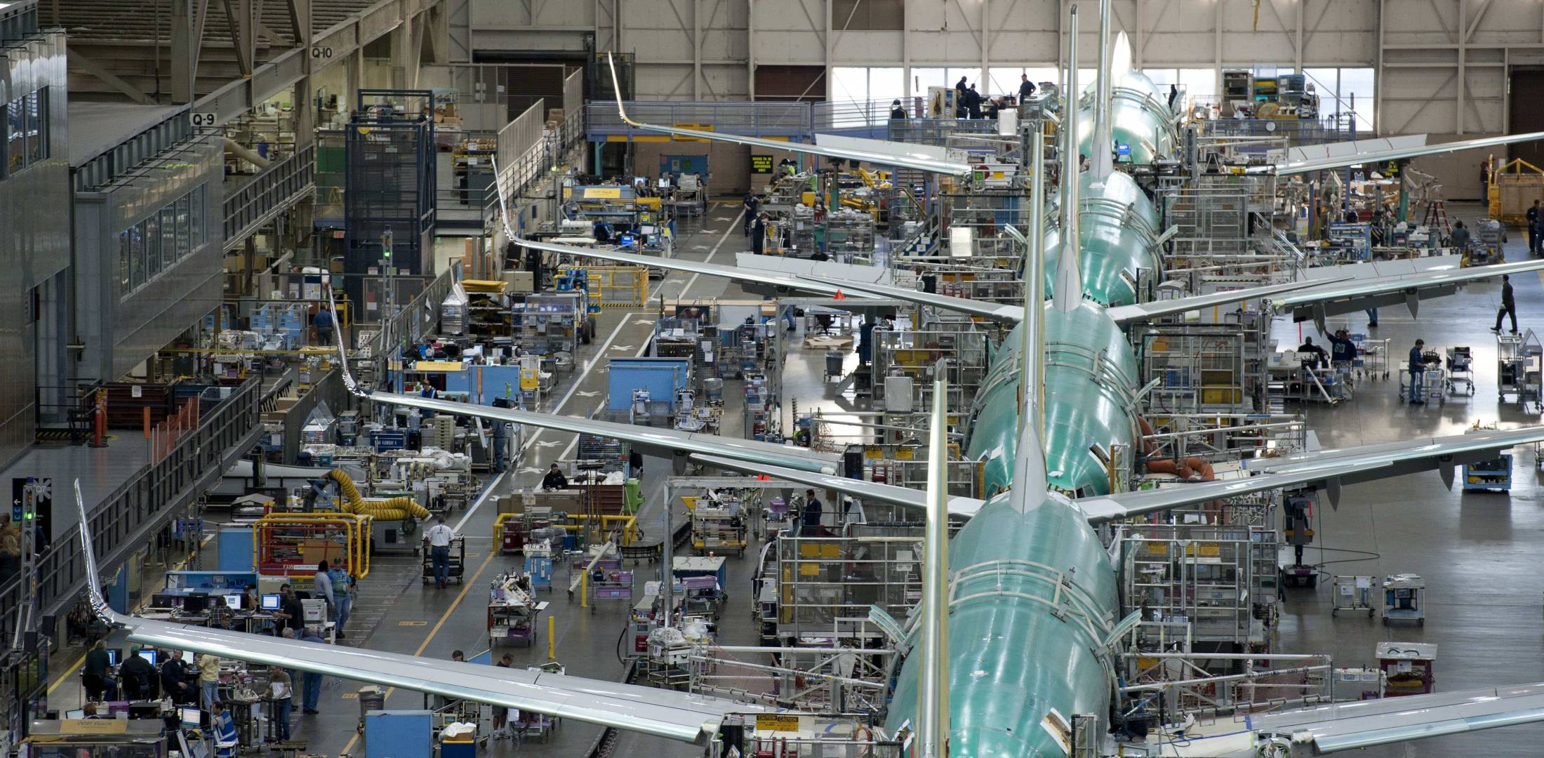 Boeing aircraft on the production line.