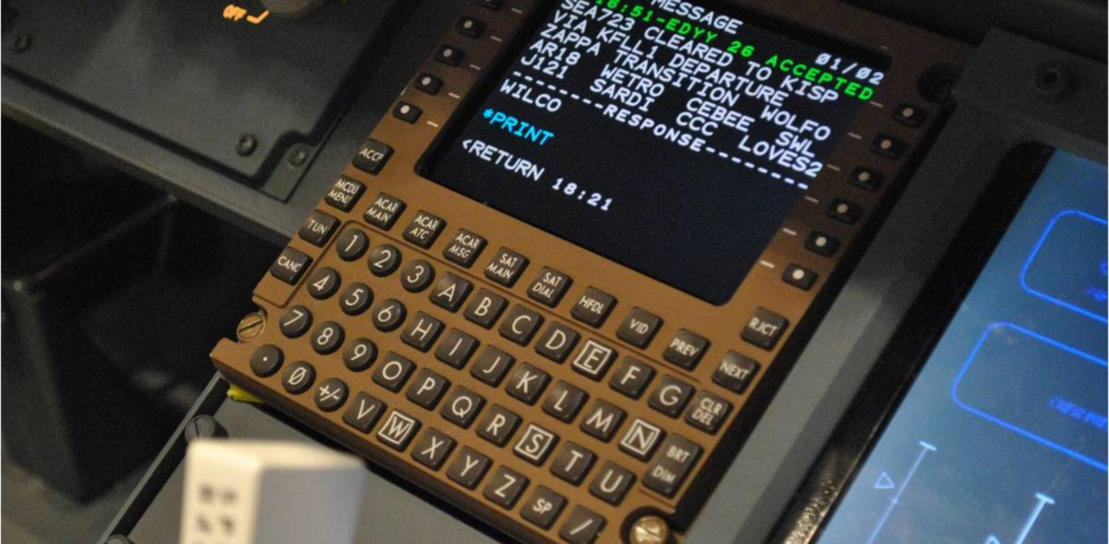 Aircraft multifunction control display with data message