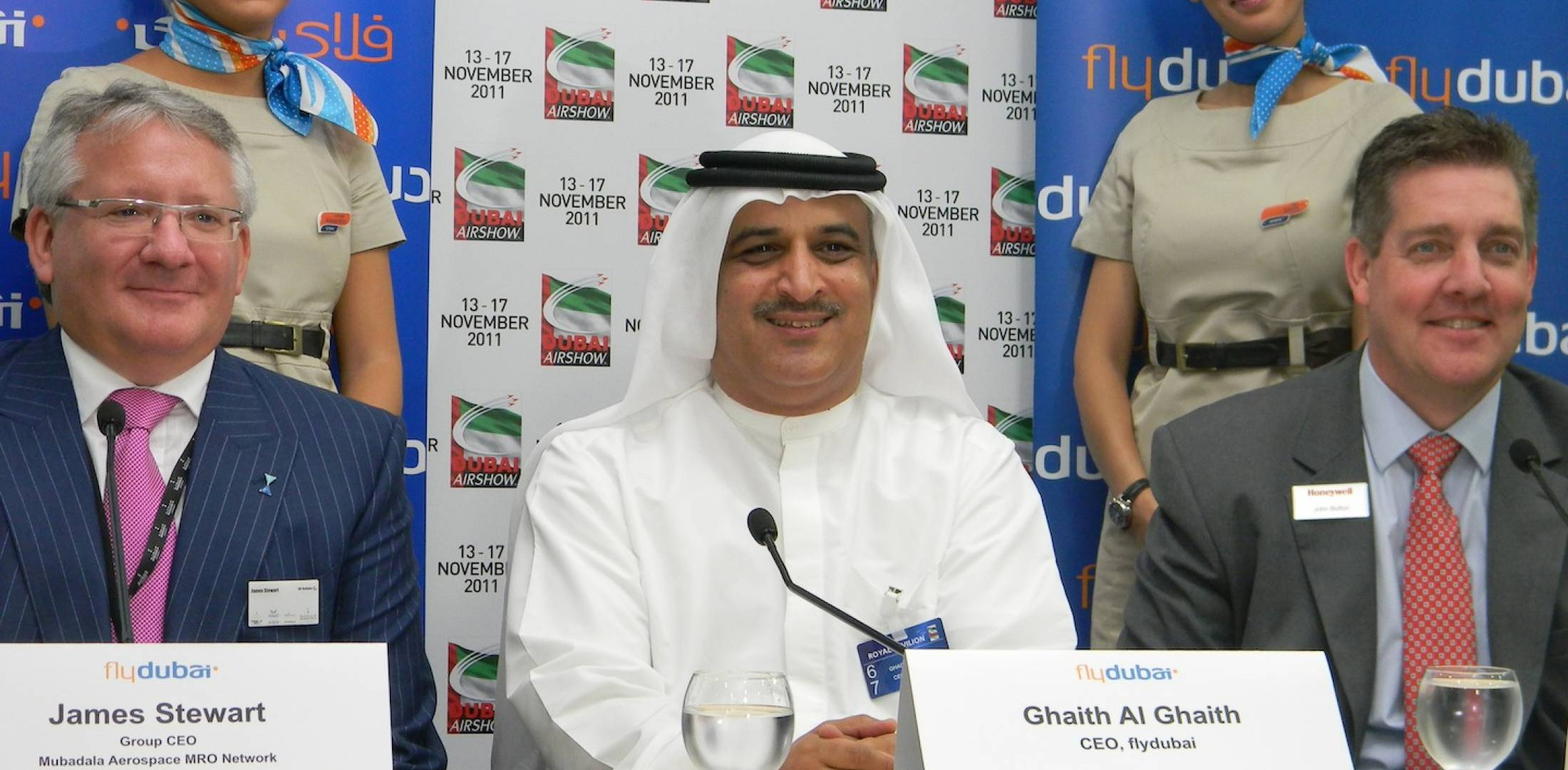 Flydubai CEO Ghaith Al Ghaith, center, at Dubai Airshow press conference.