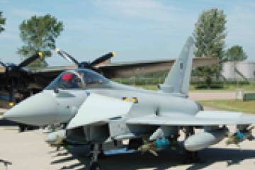 A UK Royal Air Force Eurocopter Typhoon dropped air-ground weapons in Libya t...