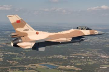 Lockheed Martin F-16C bound for service with the Royal Moroccan Air Force. (P...