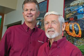 Ed Brown, left, took over as president of Heli-Mart from founder Don Nichols on January 1.Ed Brown, left,