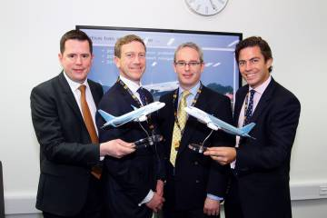 (l to r) ACJ's François Chazelle, Martin Collins from Willis, Starr's Nigel Griffiths and Henry Adair from Willis