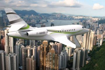 Dassault's new entry-level, large-cabin Falcon 2000S offers a 3,350-nm range.