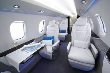 The PC-24's 501-cu-ft cabin, larger than that of the midsize Cessna Citation XLS+, is said to evoke the beauty, uniqueness and versatility of Swiss crystals.