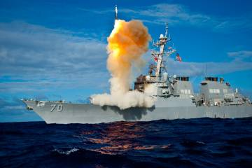 An SM-3 missile is launched from a U.S. Navy Aegis-class destroyer. Raytheon