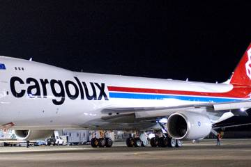 The first 747-8F destined for Cargolux will remain in Everett, Wash., for an