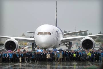 Some 500 employees of Boeing and its suppliers helped usher in a new era in a