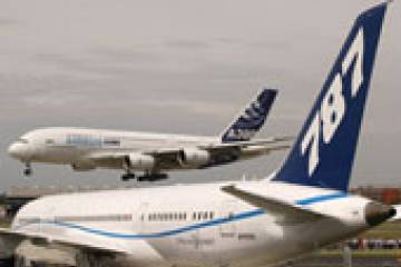 The Airbus A380 and the Boeing 787, both of which appeared at July's Farnboro...