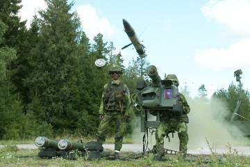 An RBS 70 missile leaves its canister en route to a target during a recent li