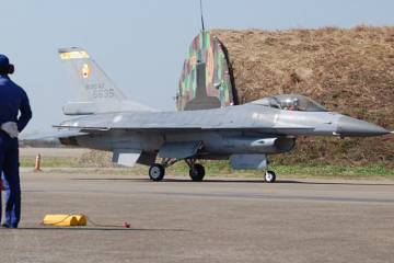 An F-16A of the Republic of China Air Force (ROCAF) taxies at an airbase on Taiw