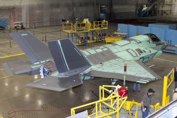 The first international F-35 Joint Strike Fighter for the UK, designated BK-1, nears completion late last year at Lockheed Martin Aeronautics in Fort Worth. Its first flight was April 13. (Photo: Lockheed Martin)