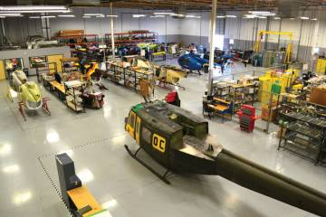 The 45,000-sq-ft hangar at Phoenix Heliparts's Mesa, Ariz. facility is near capacity.