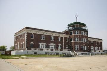 The passenger terminal and control tower at Floyd Bennett Field, NYC's first municipal airport