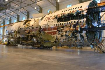 The investigation team retrieved the wreckage of TWA 800 and reassembled it in an empty Long Island hangar.