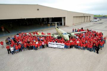 Beechcraft's factory in Wichita has completed initial build of the first of 105  King Air 350is ordered by private aviation club Wheels Up.