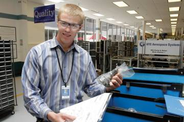 Mitch Semple, a manufacturing engineer at United Technologies Aerospace Systems, credits his participation in the JiET-A program with helping him land a full-time job at the company after graduation.