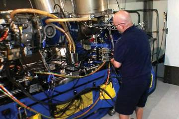 One of two turbine engine test cells at the Timken Aerospace plant in Mesa, Ariz., can test PT6A or T53 engines interchangeably. The vertical exhaust gas vents are used for the PT6A; the horizontal vent discharges exhaust from the T53 tailpipe.
