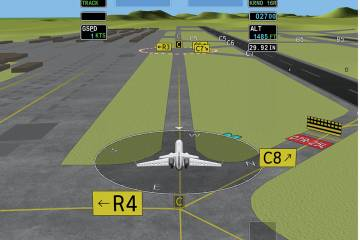 With the Honeywell 3-D taxi add-on to SmartView pilots will have the option of selecting an exocentric view (shown here) or an egocentric one, which will resemble the view through the windscreen.