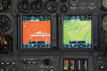 Kings Avionics, a sister company of Avcon Industries, has modified this Learjet 35's cockpit with dual Garmin GTN 750 touch-screen navigators, which provide Waas LPV approach capability for the classic business jet.
