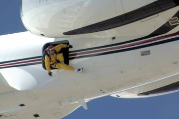 Parachuting from a Gulfstream GV is definitely an attention getter.