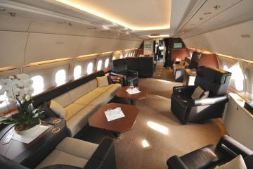 """Buyers of airliner-size business jets, like this ACJ318, """"are looking to take into the air the kind of space, comfort and elegance that they have in their homes and offices,"""" said Airbus Corporate Jets' David Velupillai."""