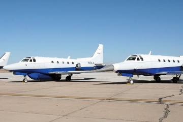 Two Sabreliner 60s and a Navajo Chieftain are operated by Flight Test Services at Goodyear. In this photo, one of the Sabreliners has a modified nose radome, while the other carries a belly-mounted all-purpose flight-test radome.