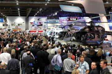 HAI expects some 20,000 attendees this year, visiting 700 exhibitors and viewing 60 helicopters flown and trucked in for the occasion in one million sq ft of Anaheim Convention Center exhibit and meeting space.
