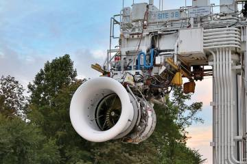 Leap-1A, destined to power the Airbus A320neo, began running on GE's Peebles, Ohio testbed last September. Next in line is the Leap-1B, which will power the Boeing 737.